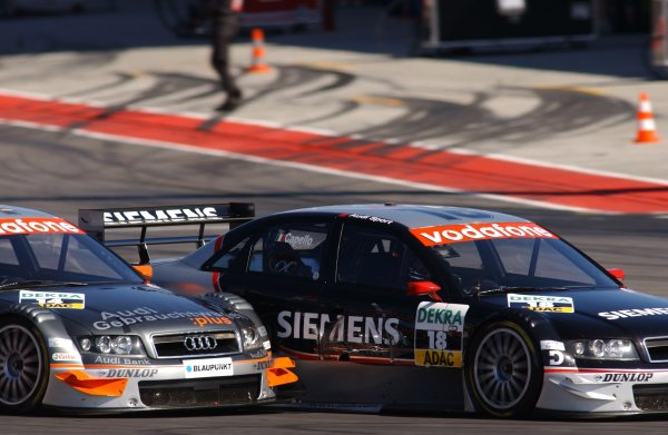 2005 DTM ChampionshipLausitz, Germany. 17th - 18th September 2005Christian Abt (Joest Racing Audi A4) battles with Rinaldo Capello (Joest Racing Audi A4). Action.World Copyright: Andre Irlmeier / LAT Photographicref: Digital Image Only