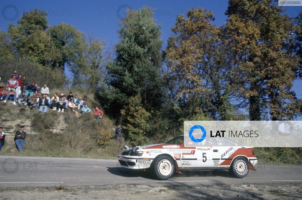 1991 World Rally Championship.Catalunya Rally, Spain. 10-13 November 1991.Armin Schwarz/Arne Hertz (Toyota Celica GT4), 1st position.World Copyright: LAT PhotographicRef: 35mm transparency 91RALLY11