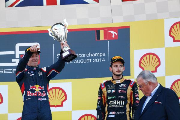 2014 GP3 Series Round 6. Spa-Francorchamps, Spa, Belgium. Sunday 24 August 2014. Alex Lynn (GBR, Carlin) & Alex Fontana, (SUI, ART Grand Prix)  Photo: Sam Bloxham/GP3 Series Media Service. ref: Digital Image _SBL7079