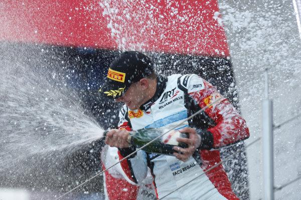 2013 GP3 Series. Round 4.  Nurburgring, Germany.  6th July 2013.  Saturday Race. Facu Regalia (ARG, ART Grand Prix) celebrates his victory on the podium.  World Copyright: Andrew Ferraro/GP2 Series Media Service. Ref: _79P5800