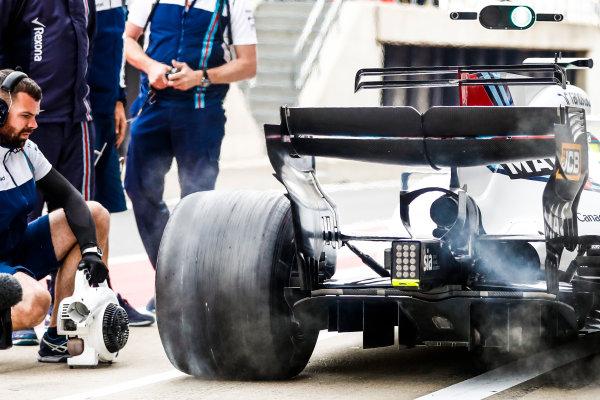 Silverstone, Northamptonshire, UK.  Friday 14 July 2017. Felipe Massa, Williams FW40 Mercedes, in the pits during practice. World Copyright: Glenn Dunbar/LAT Images  ref: Digital Image _31I2726