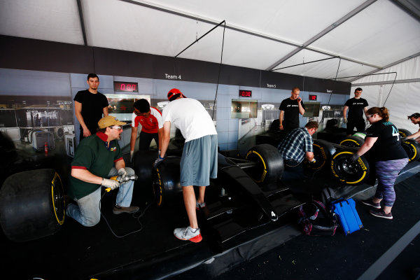Circuit Gilles Villeneuve, Montreal, Canada. Sunday 11 June 2017. Pit stop challenge in the F1 fan village. World Copyright: Andy Hone/LAT Images ref: Digital Image _ONZ4759