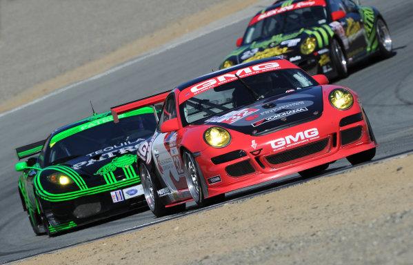 20-22 May, 2010, Monterey, California, USA.#32 GMG Racing Porsche 911 GT3 Cup, #02 Ferrari and #23 Porsche.©Dan R. Boyd, USA LAT Photographic.