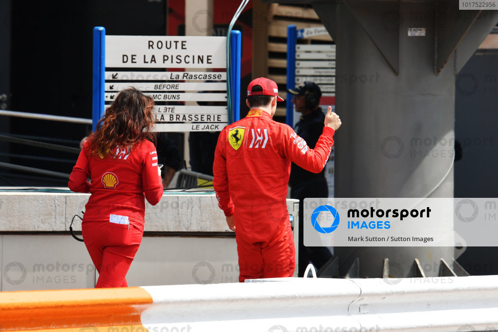 Charles Leclerc, Ferrari, gives a thumbs-up after being knocked out of qualifying