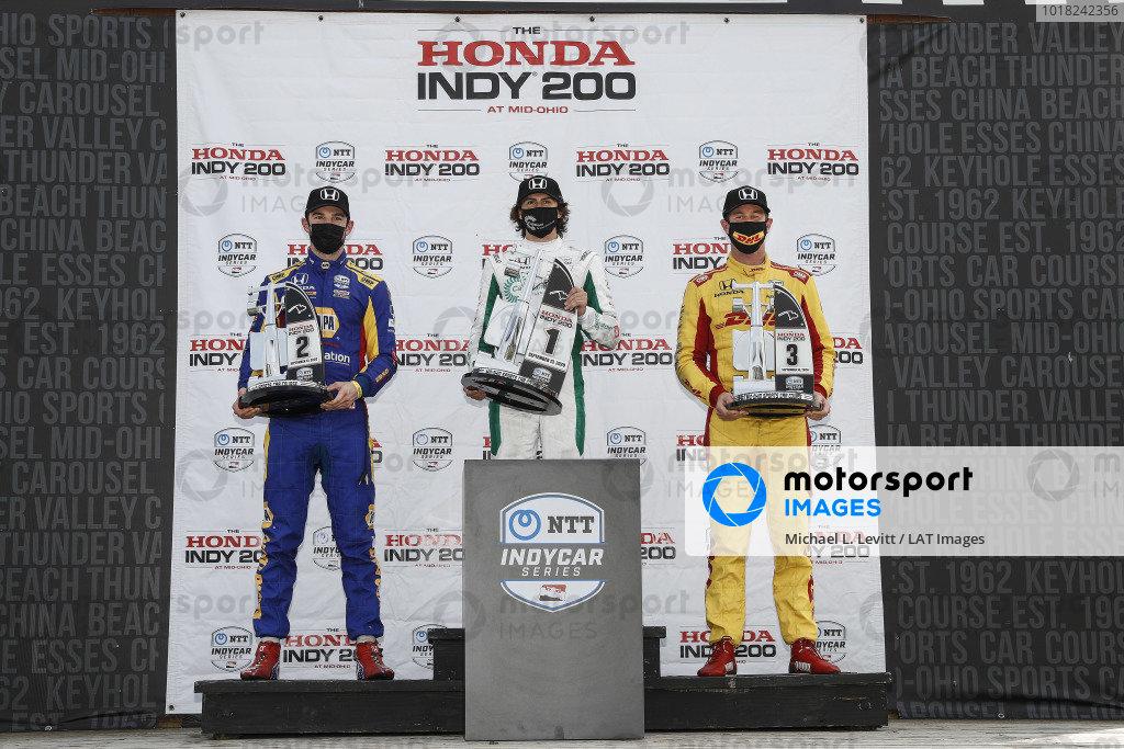 #27: Alexander Rossi, Andretti Autosport Honda, #88: Colton Herta, Andretti Harding Steinbrenner Autosport Honda, #28: Ryan Hunter-Reay, Andretti Autosport Honda, podium