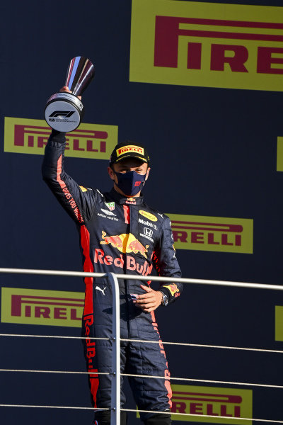 Alexander Albon, Red Bull Racing, 3rd position, with his trophy