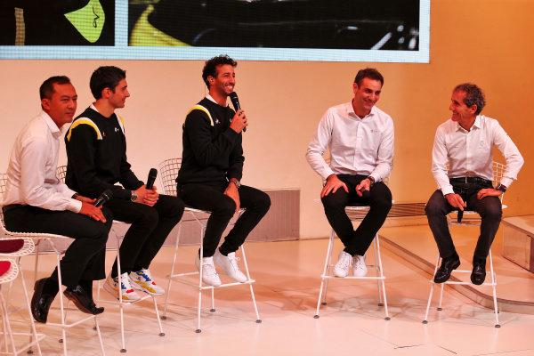 (L to R): Mia Sharizman (MAL) Renault Sport Academy Director; Esteban Ocon (FRA) Renault F1 Team; Daniel Ricciardo (AUS) Renault F1 Team; Cyril Abiteboul (FRA) Renault Sport F1 Managing Director; Alain Prost (FRA) Renault F1 Team Non-Executive Director. Copyright: James Moy/XPB/Renault F1