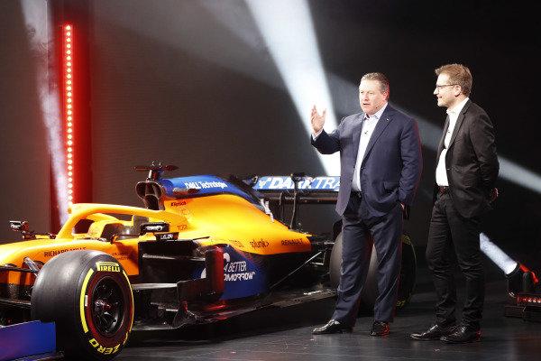 Zak Brown, Executive Director, McLaren, and Andreas Seidl, Team Principal, McLaren, launch the McLaren MCL35