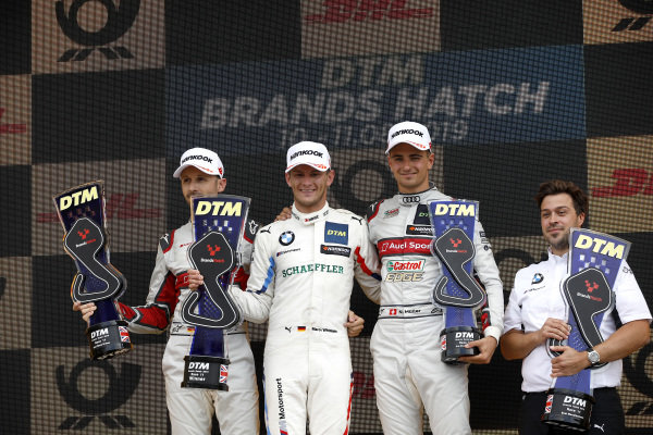 Podium: Race winner Marco Wittmann, BMW Team RMG, second place René Rast, Audi Sport Team Rosberg, third place Nico Müller, Audi Sport Team Abt Sportsline.