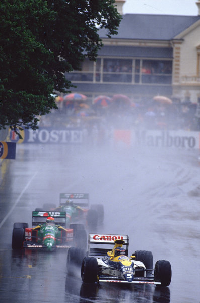 1989 Australian Grand Prix.Adelaide, Australia.3-5 November 1989.Thierry Boutsen (Williams FW13 Renault) 1st position, with the Benetton B189 Ford's of Pirro and Nannini behind.Ref-89 AUS 07.World Copyright - LAT Photographic