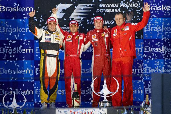 Podium group photo. L-R: Fernando Alonso, 2nd position, winner Felipe Massa, Kimi Räikkönen, 3rd position and team boss Stefano Domenicali.
