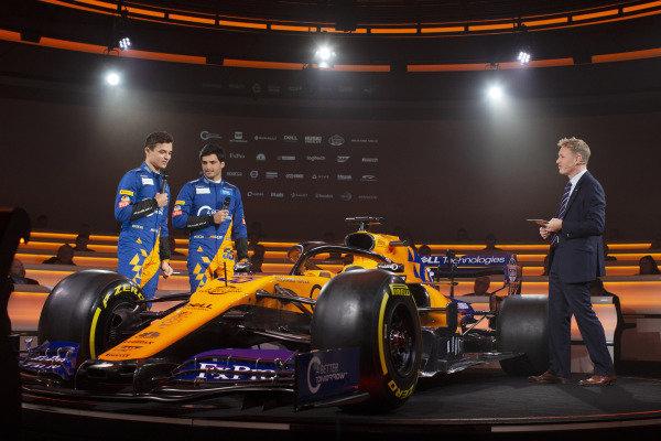 Lando Norris, McLaren with Carlos Sainz Jr, McLaren talk with Simon Lazenby, Sky TV about the new McLaren MCL34