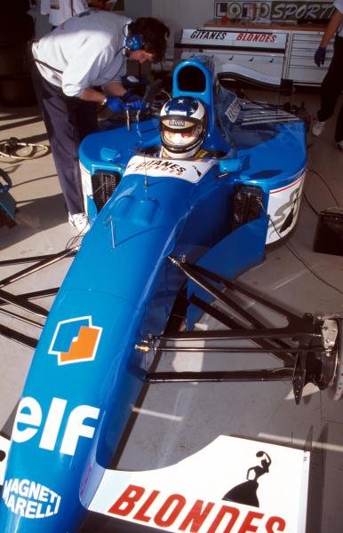 Preparations are made to the Ligier JS39B Renault that  Michael Schumacher (GER) will test to evaluate the Renault V10 engine that will power his Benetton for the following season.
