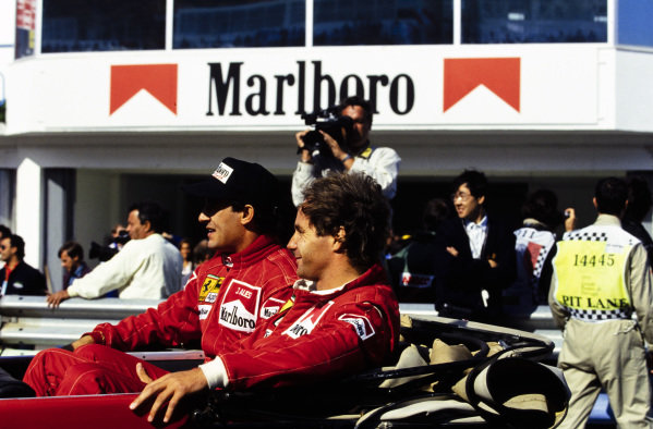 Jean Alesi and Gerhard Berger on the drivers' parade.