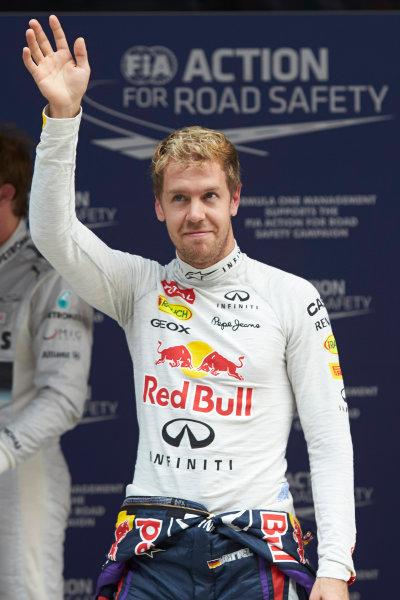 Buddh International Circuit, New Delhi, India. Saturday 26th October 2013. Pole man Sebastian Vettel, Red Bull Racing. World Copyright: Steve Etherington/LAT Photographic. ref: Digital Image SNE20593 copy