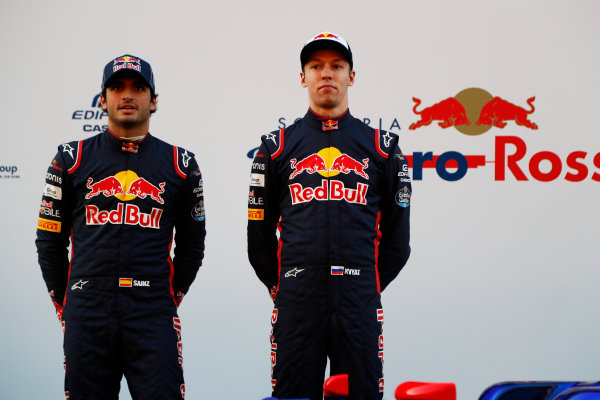 Toro Rosso STR12 Formula 1 Launch. Barcelona, Spain  Sunday 26 February 2017. Carlos Sainz Jr, Toro Rosso. and Daniil Kvyat, Toro Rosso.   World Copyright: Dunbar/LAT Images Ref: _X4I9517