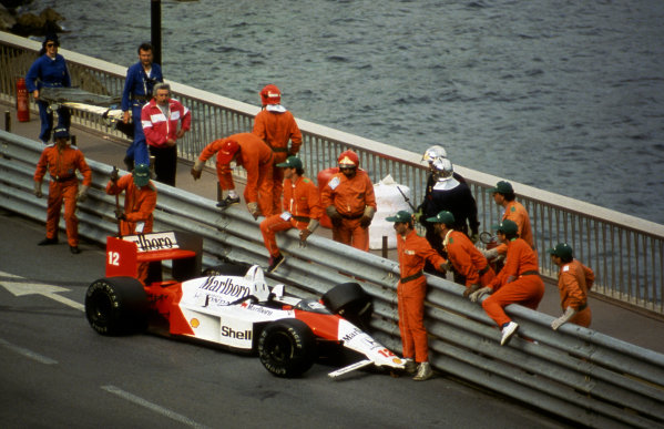 Ayrton Senna (BRA) McLaren MP4/4 made a rare error to crash out of the race whilst holding a commanding lead. Formula One Championship, Rd 3, Monaco Grand Prix, Monte Carlo, 15 May 1988.