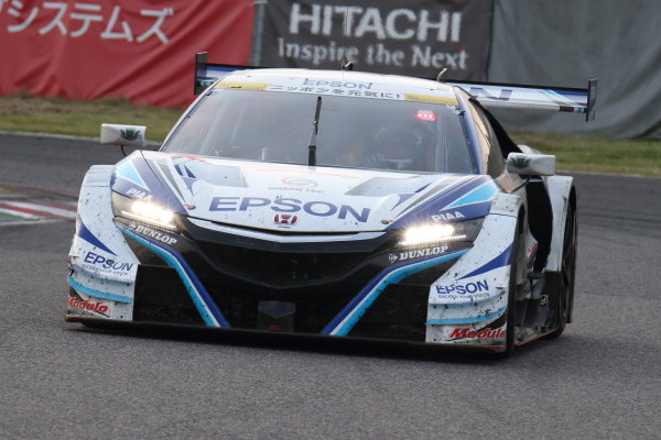 2017 Japanese Super GT Series. Suzuka, Japan. 26th - 27th August 2017. Rd 6. GT500 Winner Bertrand Baguette & Kosuke Matsuura ( #64 Epson Modulo NSX-GT ) action World Copyright: Yasushi Ishihara / LAT Images. Ref: 2017SGT_Rd6_006