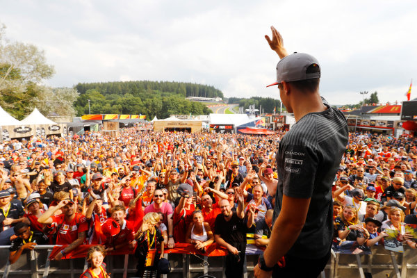 Spa Francorchamps, Belgium.  Saturday 26 August 2017. Stoffel Vandoorne, McLaren, on stage in the F1 Fanzone. World Copyright: Steven Tee/LAT Images  ref: Digital Image _R3I0536
