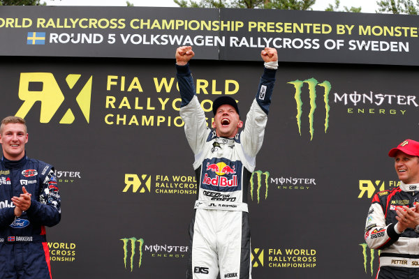 2014 FIA World Rallycross Championship Round 05 H?ljes, Sweden 5th & 6th July 2014 Mattias Ekstrom, Audi, podium Worldwide Copyright: McKlein/LAT