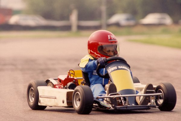 1993 Rye House Karting. Rye House, England. March 1993. Lewis Hamilton practices Karting at 8 years old, action. World Copyright: Chris Dixon/LAT Photographic. ref: CJD/RYE/21/21
