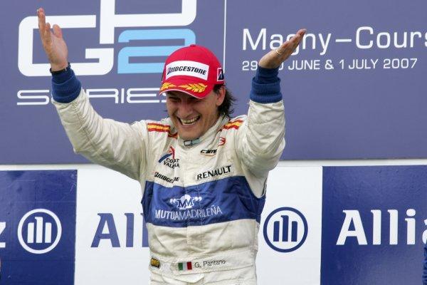 2007 GP2 Series. Round 4.Magny-Cours, France. 30th June.Saturday RaceGiorgio Pantano (ITA, Campos Grand Prix) celebrates victory on the podium.World Copyright: Alastair Staley/GP2 Series Media Service.ref: Digital ImageIMG_9871