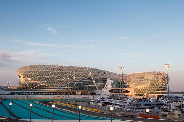 Yas Marina Circuit, Abu Dhabi, United Arab Emirates. Sunday 29 November 2015. Sergio Perez, Force India VJM08 Mercedes. World Copyright: Zak Mauger/LAT Photographic ref: Digital Image _L0U8406