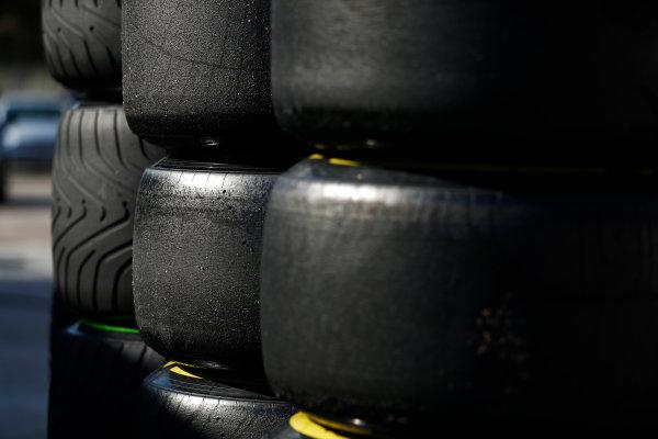 Circuit de Barcelona Catalunya, Barcelona, Spain. Friday 10 March 2017. Intermediate and slick Pirelli tyres. World Copyright: Glenn Dunbar/LAT Images ref: Digital Image _31I7393