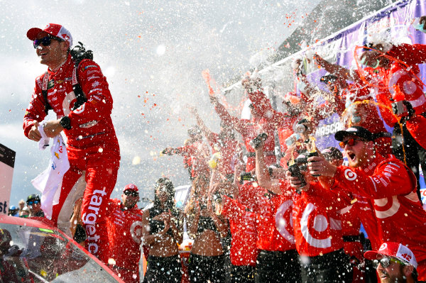2017 Monster Energy NASCAR Cup Series Auto Club 400 Auto Club Speedway, Fontana, CA USA Sunday 26 March 2017 Kyle Larson celebrates his win in Victory Lane World Copyright: Nigel Kinrade/LAT Images ref: Digital Image _DSC4986
