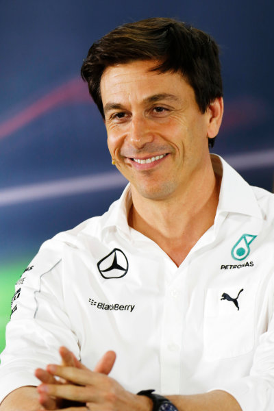 Yas Marina Circuit, Abu Dhabi, United Arab Emirates. Friday 21 November 2014. Toto Wolff, Executive Director (Business), Mercedes AMG, in the team principals Press Conference. World Copyright: Alastair Staley/LAT Photographic. ref: Digital Image _79P8802