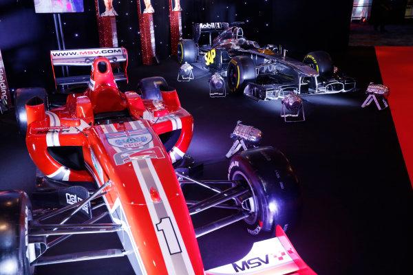 2014 Autosport Awards. Grosvenor House Hotel, Park Lane, London. Sunday 7 December 2014. McLaren F1 car and MSV Formula 2 car. World Copyright: Sam Bloxham/LAT Photographic. ref: Digital Image _14P3464