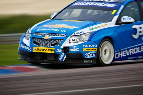 2011 British Touring Car Championship, Thruxton, Hampshire, 30th April - 1st May 2011, Race 3 winner, Jason Plato, Chevrolet Cruz, Silverline Chevrolet, World Copyright: Chris Bird/LAT Photographic/ ref: Digital Image Only