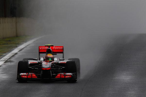 Interlagos, Sao Paulo, Brazil. 6th November 2010. Lewis Hamilton, McLaren MP4-25 Mercedes. Action.  World Copyright: Glenn Dunbar/LAT Photographic ref: Digital Image _G7C4584