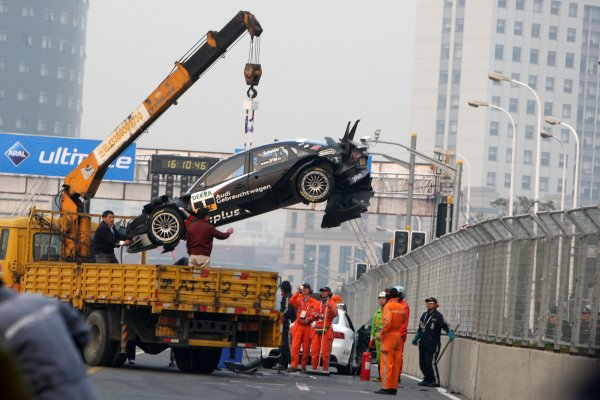 The wrecked car of Timo Scheider (GER), Audi Sport Team Abt after his crash.DTM, Rd11, Shanghai, China, 26-28 November 2010.World Copyright: LAT Photographicref: dne1027no39