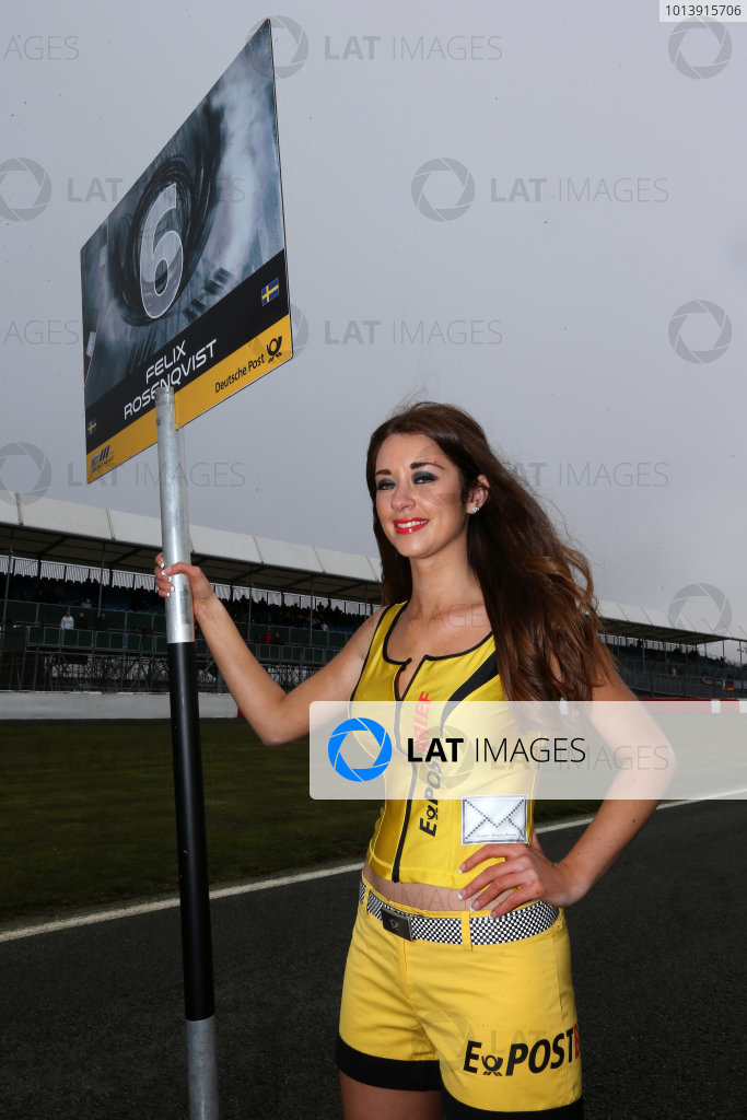 2013 FIA F3 European Championship, Silverstone, Northamptonshire. 12th - 14th April 2013. Grid Girl. World Copyright: Ebrey / LAT Photographic.