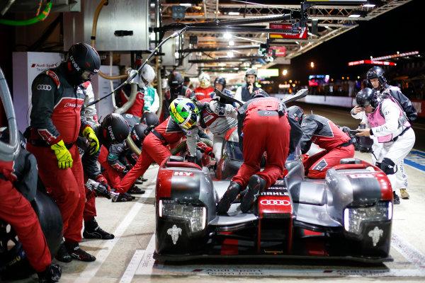2016 Le Mans 24 Hours. Circuit de la Sarthe, Le Mans, France. Audi Sport Team Joest / Audi R18 - Lucas Di Grassi (BRA), Loic Duval (FRA), Oliver Jarvis (GBR).  Sunday 19 June 2016 Photo: Adam Warner / LAT ref: Digital Image _L5R6236