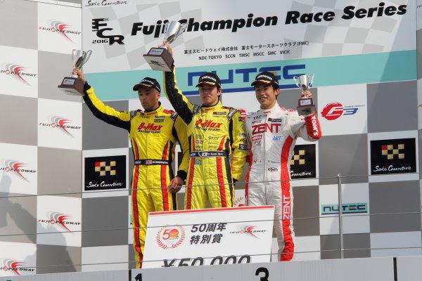 2016 Japanese Formula 3 Championship Fuji, Japan. 14th-15th May 2016. Rd 3 & 4. Winner Daiki Sasaki  ( #21 B-MAX NDDP F3 ), with 2nd position Jann Mardenborough ( #22 B-MAX NDDP F3 ) and 3rd position Sho Tsuboi ( #37 ZENT TOM'S F314 ) on the podium. World Copyright: Hideaki Kobayashi/LAT Ref: (filenamebase}