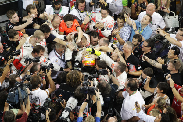 Race winner Lewis Hamilton (GBR) McLaren in parc ferme. 
