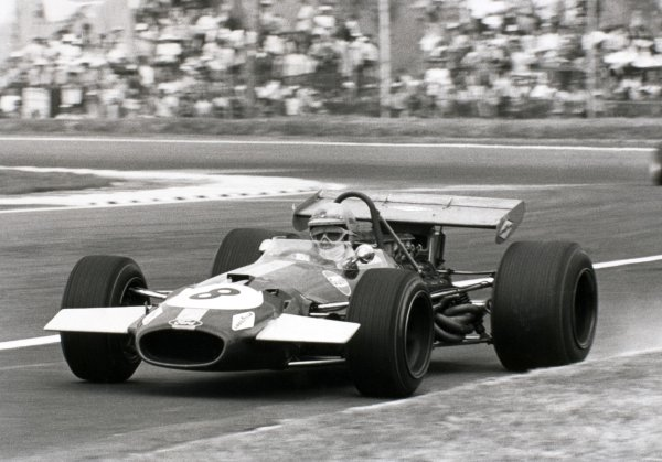 1969 Mexican Grand Prix.Mexico City, Mexico. 19 October 1969.Jack Brabham, Brabham BT26-Ford, 3rd position, action.World Copyright: LAT PhotographicRef: b&w print
