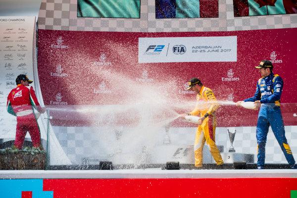2017 FIA Formula 2 Round 4. Baku City Circuit, Baku, Azerbaijan. Sunday 25 June 2017. Charles Leclerc (MCO, PREMA Racing), Norman Nato (FRA, Pertamina Arden), Nicholas Latifi (CAN, DAMS)  Photo: Zak Mauger/FIA Formula 2. ref: Digital Image _56I8665