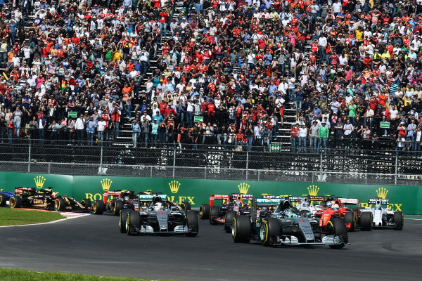 Nico Rosberg (GER) Mercedes AMG F1 W06 leads Lewis Hamilton (GBR) Mercedes AMG F1 W06 at the start of the race at Formula One World Championship, Rd17, Mexican Grand Prix, Race, Circuit Hermanos Rodriguez, Mexico City, Mexico, Sunday 1 November 2015. BEST IMAGE