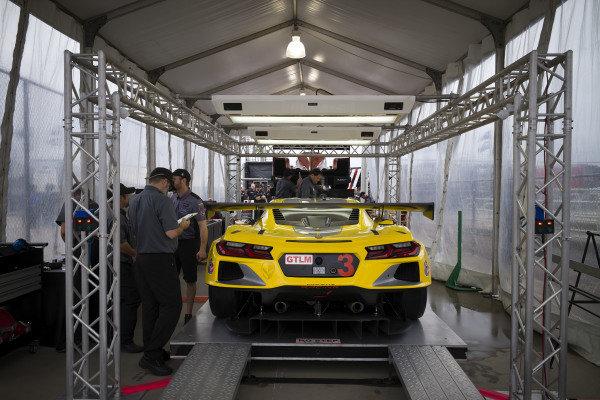 #3 Corvette Racing Corvette C8.R, GTLM: Antonio Garcia, Jordan Taylor, Nicky Catsburg, tech inspection