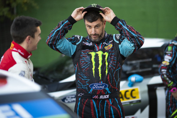 Ken Block, Hoonigan Racing Division, Ford Fiesta RS WRC 2018, relaxed before starting Rally Catalunya de Espana