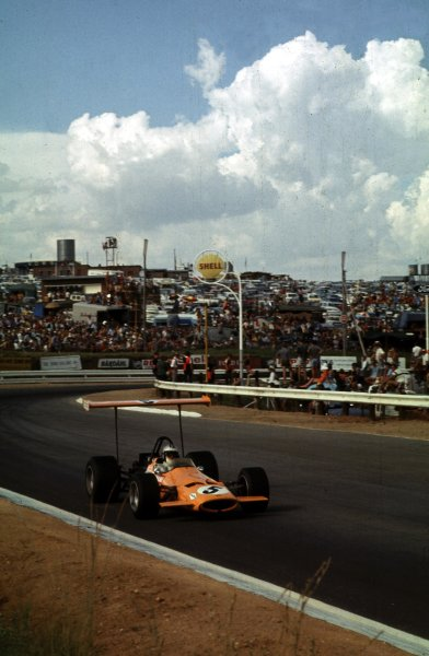 1969 South African Grand Prix.Kyalami, South Africa.27/2-1/3 1969.Denny Hulme (McLaren M7A Ford) 3rd position.Ref-69 SA 37.World Copyright - LAT Photographic