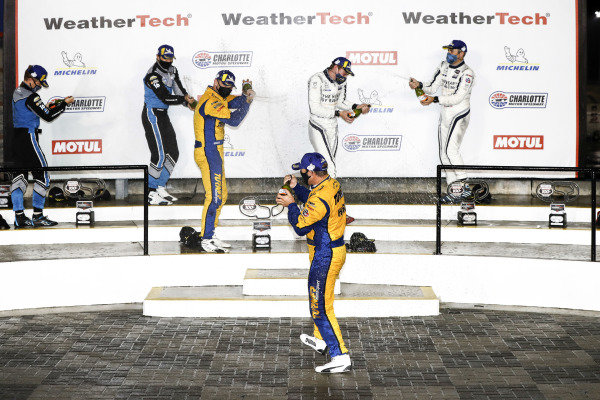#16 Wright Motorsports Porsche 911 GT3 R, GTD: Ryan Hardwick, Patrick Long, #96 Turner Motorsport BMW M6 GT3, GTD: Robby Foley III, Bill Auberlen, #23 Heart Of Racing Team Aston Martin Vantage GT3, GTD: Roman De Angelis, Ian James, podium, champagne