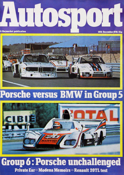 Cover of Autosport magazine, 16th December 1976