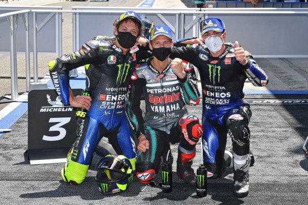 Podium: race winner Fabio Quartararo, Petronas Yamaha SRT, second place Maverick Vinales, Yamaha Factory Racing, third place Valentino Rossi, Yamaha Factory Racing.