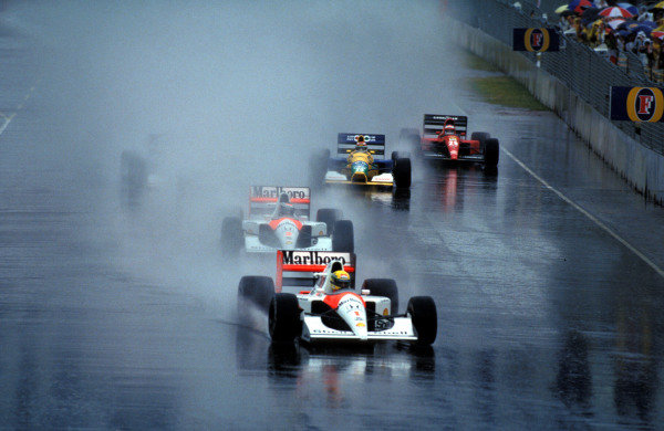 Ayrton Senna, McLaren MP4-6 Honda, leads Gerhard Berger, McLaren MP4-6 Honda, Nelson Piquet, Benetton B191 Ford, and Jean Alesi, Ferrari 643, at the start of the race.