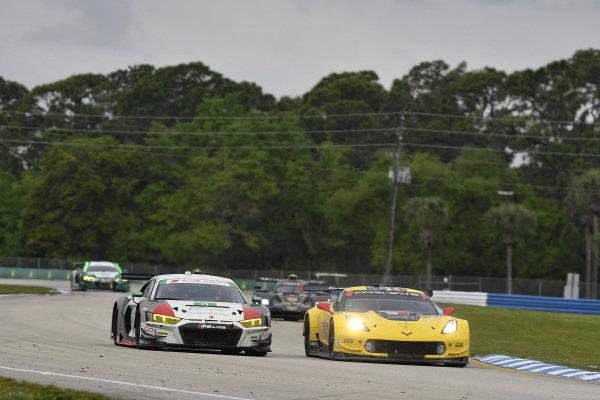 #8 Starworks Motorsport Audi R8 LMS GT3, GTD: Parker Chase, Ryan Dalziel, Ezequiel Perez Companc, #4 Corvette Racing Corvette C7.R, GTLM: Oliver Gavin, Tommy Milner, Marcel Fassler