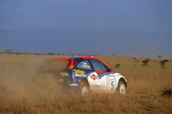 2002 World Rally ChampionshipSafari Rally, Kenya. 11th - 14th July 2002.Rally winner Colin McRae/Nicky Grist (Ford Focus RS WRC02), action.World Copyright: McKlein/LAT Photographicref: 35mm Image A02